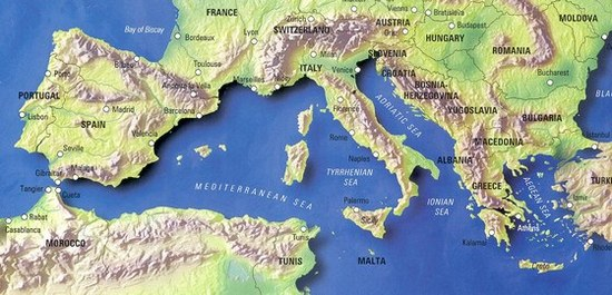 The map of the Mediterranean